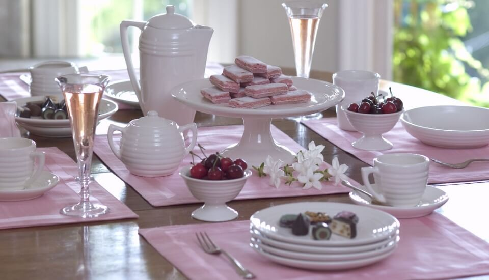 Pink and White Table